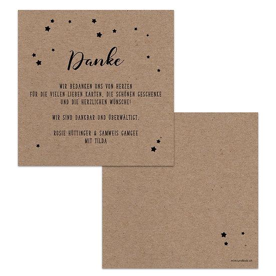 Dankeskarte Geburt echtes Kraftpapier Muskatpapier mit Sternchen