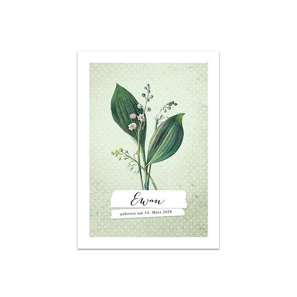 """Geburtskarte Einzelkarte """"Vintage Botanical Ewan"""""""