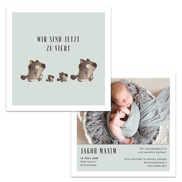 Geburtskarten Schweiz Minz Mint Mintgrün Lindgrün vier Tiere zu viert