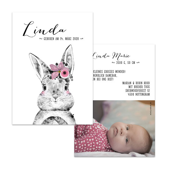 Geburtskarte Hasenmädchen mit rosa Blumen Hase Mädchen