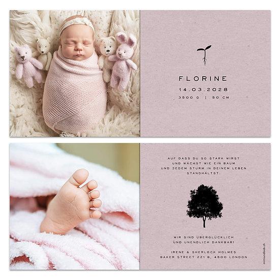 Geburtskarte Babykarte rosa Kraftpapier mit Keimling Samen Baum