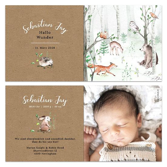 Geburtskarte Tiere im Wald Waldtiere