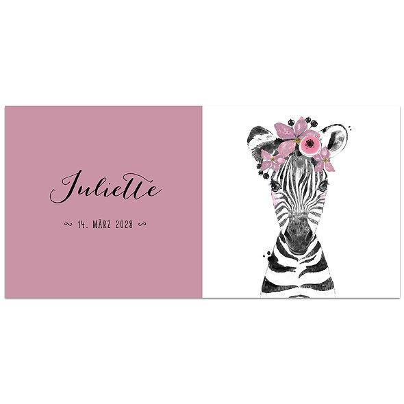 Geburtskarte Einzelkarte Safari Babies zebra rosa altrosa Mädchen
