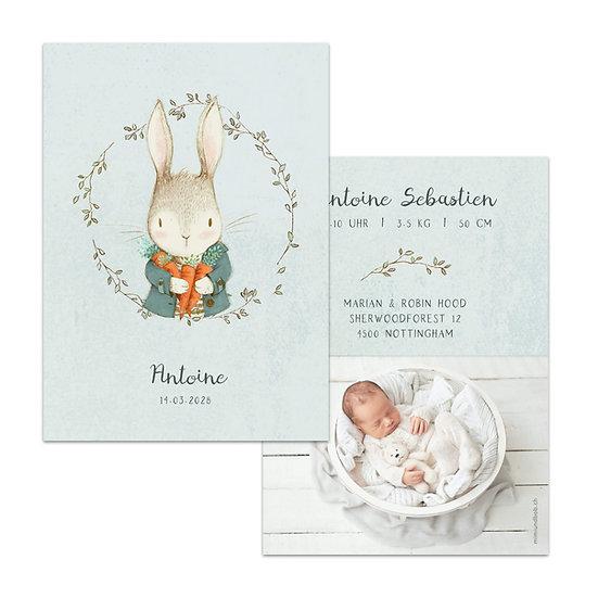 Geburtskarte Babykarte vintage scandi rustic hase osterhase im kranz hellblau