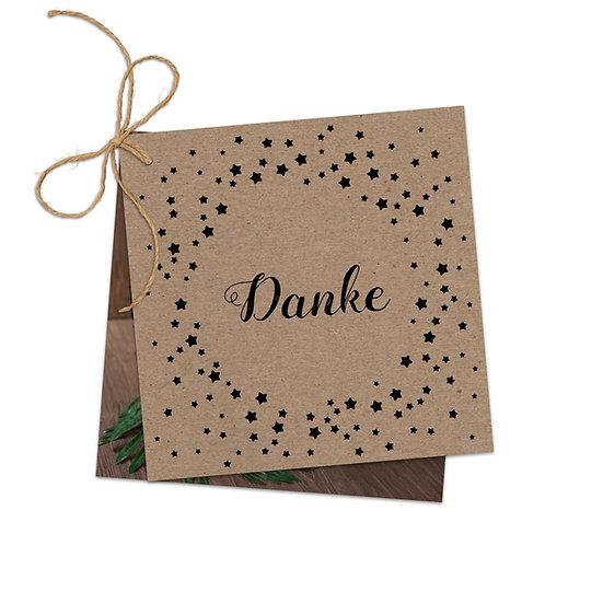 Dankeskarte Geburt Muskatpapier Kraftpapier mit Fotokarte Sterne zusammengebunden mit Schnur