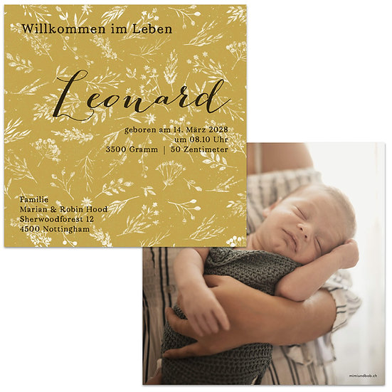 Geburtskarte Babykarte Senfgrün senfgelb mit Vintage Blumenmuster und Name in Handlettering