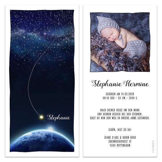 Geburtskarte Babykarte Sternenhimmel landender Stern auf Erde