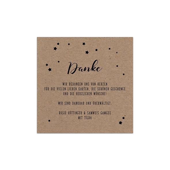 "Dankeskarte Einzelkarte Kraftpapier ""Sterne Tilda"""