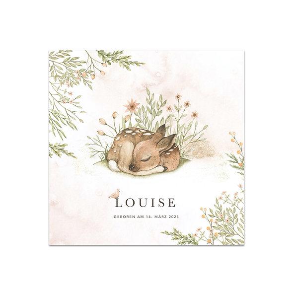 """Geburtskarte Einzelkarte """"Aquarell Forest Reh Louise"""""""