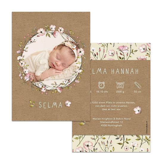Geburtskarten Kraftpapier Muskatpapier Blumenkranz Kranz Wildrosen Handgemalt Handgezeichnet Watercolor Wasserfarbe