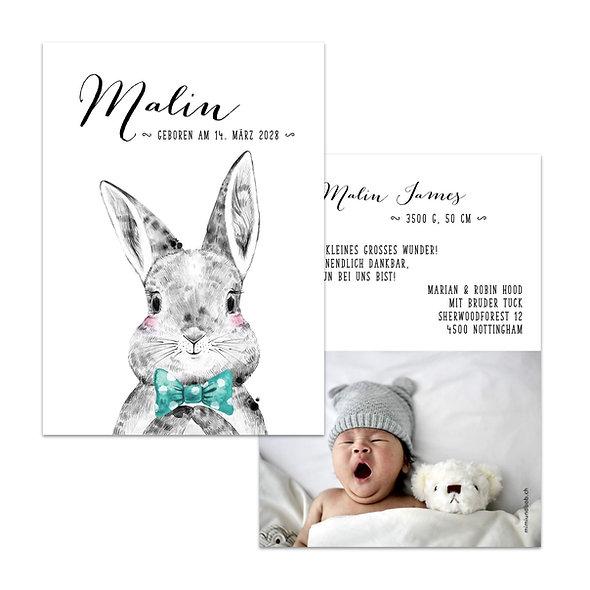 Geburtskarte Hase mit Fliege Krawatte Junge hellblau