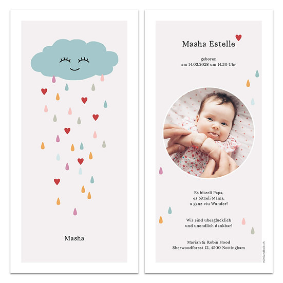 Geburtskarte lachende Wolke mit Regentropfen und Herzen