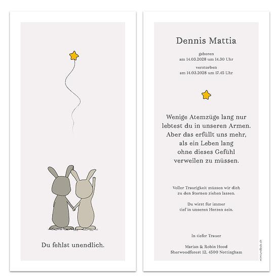 Geburtskarte Trauerkarte für Sternenkind Engelskind zwei Tiere schien hoch zu Stern am Himmel