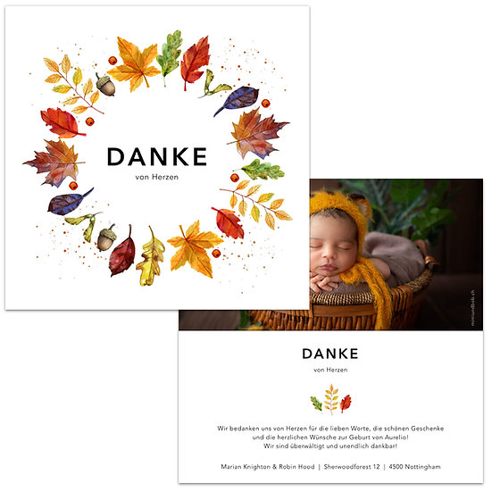 Dankeskarte Geburt herbstlich Herbstblätter Kranz Wasserfarbe