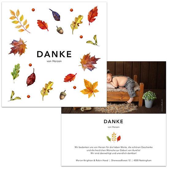 Dankeskarte Geburt Herbstblätter Wasserfarbe