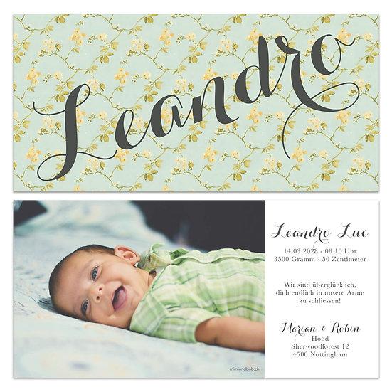 Geburtskarte Babykarte Vintage Handlettering grün