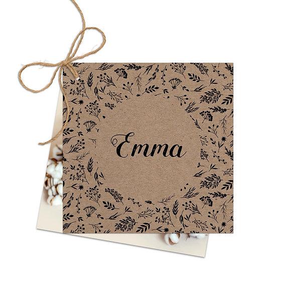"Geburtskarte Fächerkarte Kraftpapier ""Emma"""