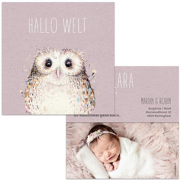 Geburtskarte Kraftpapier Rosa mit Eule aus Wasserfarbe Babykarte für Mädchen
