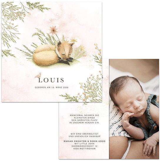Geburtskarte Babykarte rustikal im Cottage Garden Boho Stil Wasserfarbe und schlafender Fuchs