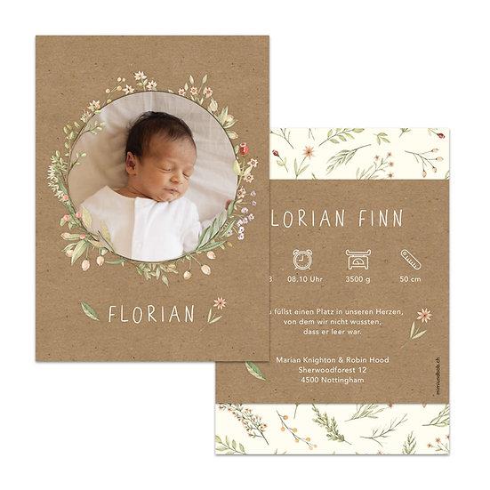 Geburtsanzeigen Kraftpapier Muskatpapier braun Blumenkranz Kranz Blumen Vintage Boho Bohemian