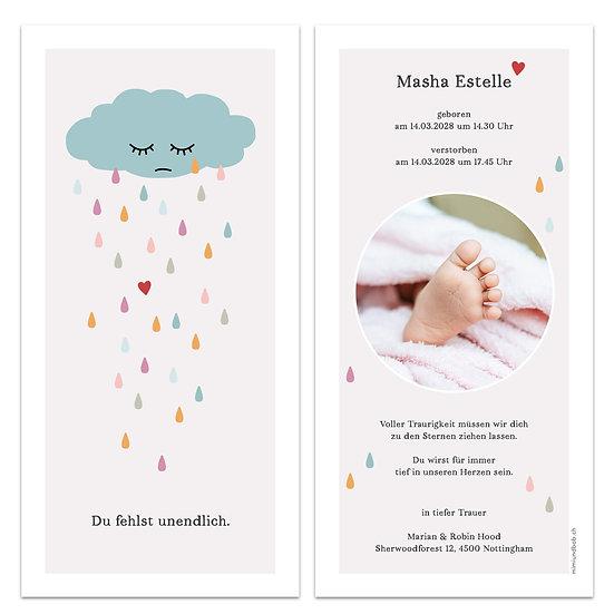 Trauerkarte stille Geburt Sternenkind Geburtskarte weinende Wolke Regen