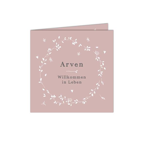 Geburtsanzeige Falzkarte Altrosa Kranz Blumen