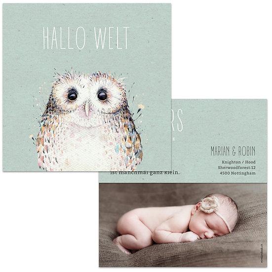 Geburtskarte Babykarte grünes Kraftpapier und Eule Wasserfarbe