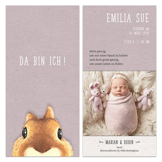 Geburtskarte Babykarte rosa Kraftpapier mit Eichhörnchen