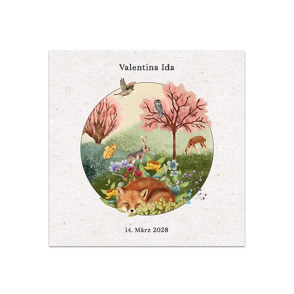 Geburtskarte Geburtsanzeige Babykarte märchen märchenhaft zauberhaft verzaubert boho