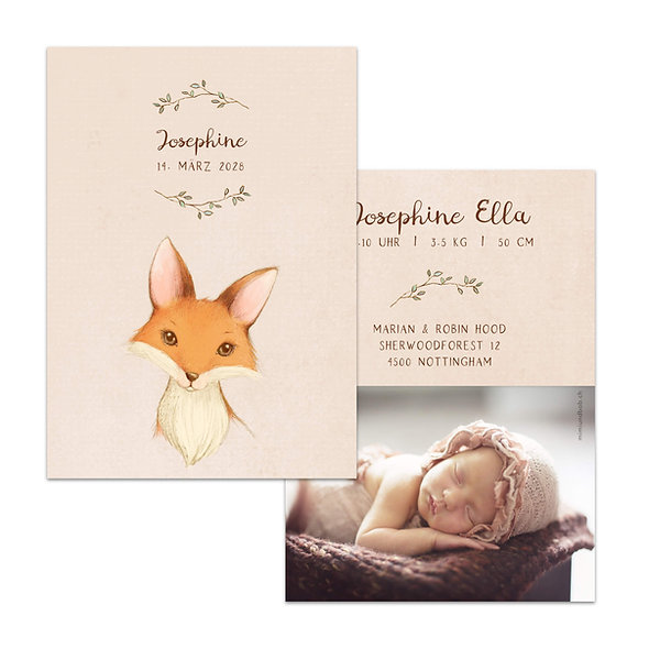 Geburtskarten Vintage Fuchs Handgemalt Vintage Handlettering Boho Bohemian