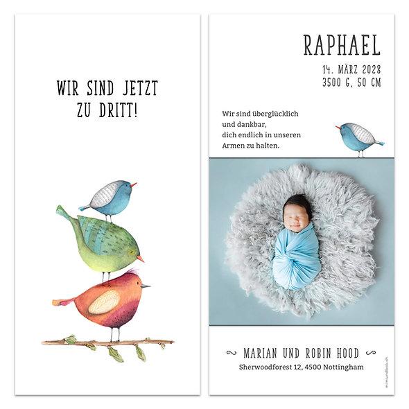 Geburtskarten Vögel Vogelfamilie wir sind zu dritt blau Junge