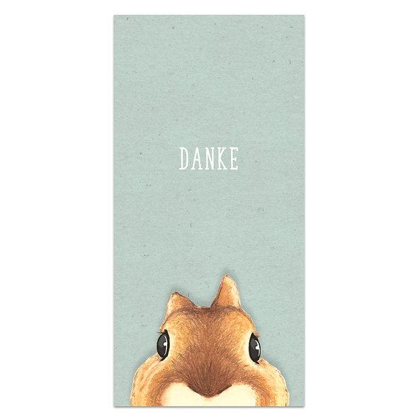 Dankeskarte Baby geburt Eichhörnchen Grün Junge