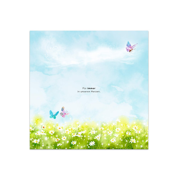 Geburtskarte Engelskarte Sternenkarte Trauerkarte Sternenkind Schmetterling Wiese Blumenwiese