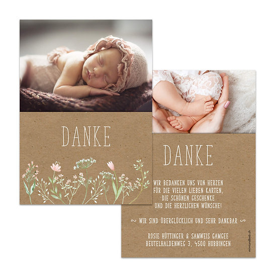 Dankeskarte Geburt Muskatpapier rosa Blumen im Bohostil