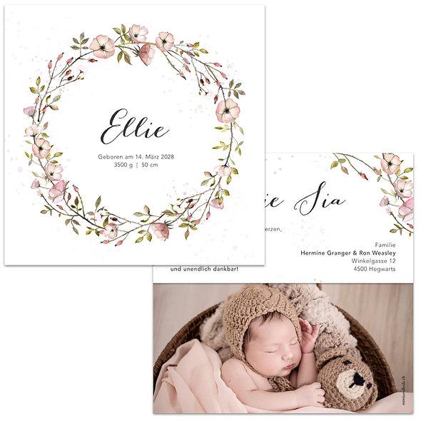 Geburtskarten Wildrose Wildrosenkranz Blumenkranz Kranz Rosa Mädchen Aquarell Wasserfarbe gemalt handgemalt