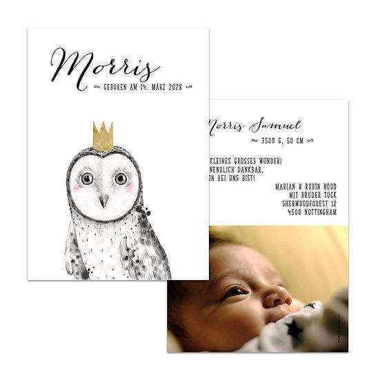 Geburtskarte Babykarte Eule mit Krone handgemalt gemalt