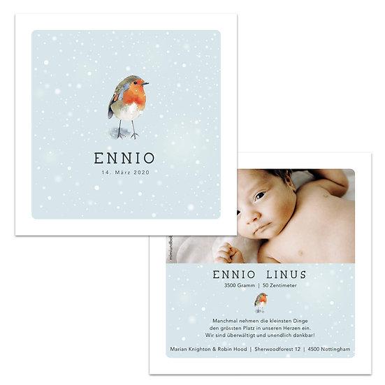 Geburtskarten Schweiz Rotkehlchen Winter Schnee Vogel