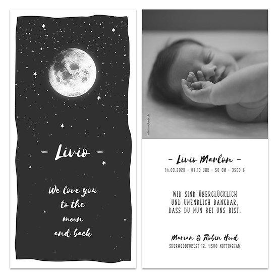 Geburtskarte Babykarte Mond und Sterne ich liebe dich bis zu den Sternen und wieder zurück