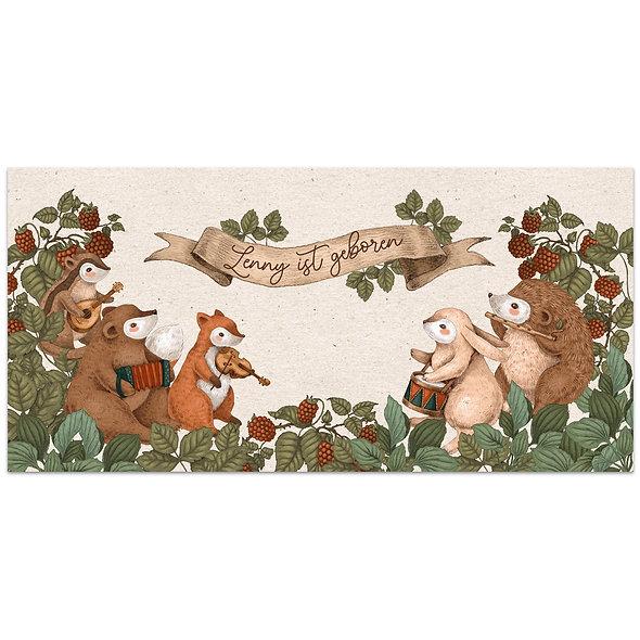 Geburtskarte Kraftpapier Tiere Wald Waldtiere Himbeeren