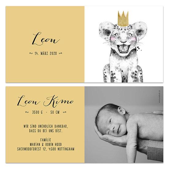 Geburtskarte Babykarte gelb mit Löwenbaby junger Löwe mit Krone auf Kopf