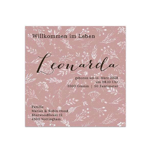 """Geburtskarte Einzelkarte """"Vintage Flower Leonarda """""""