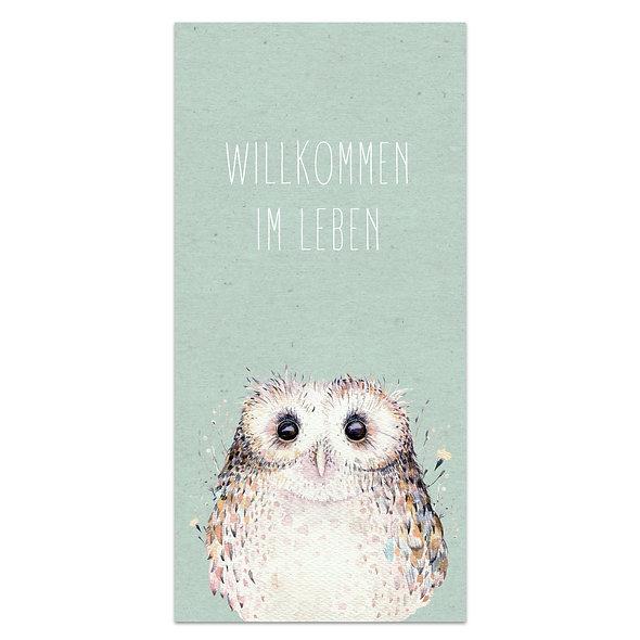 "Geburtskarte Einzelkarte ""Eule Florian"""