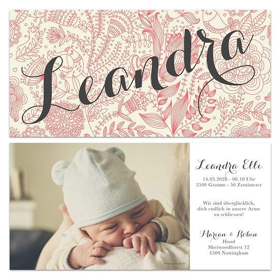 Geburtskarte Babykarte Vintage Rosa Handlettering
