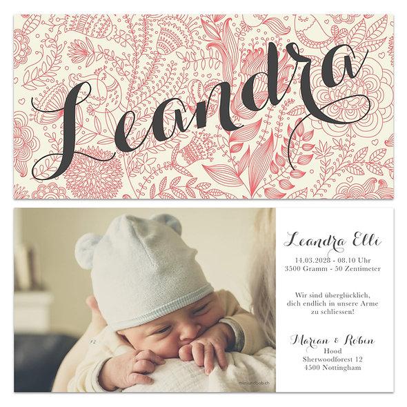 Geburtskarten Vintage Retro Handlettering Rosa Mädchen