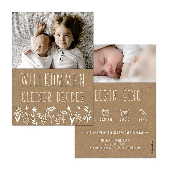 Geburtskarte Babykarte weisse Schrift auf Kraftpapier im skandinavischen Stil