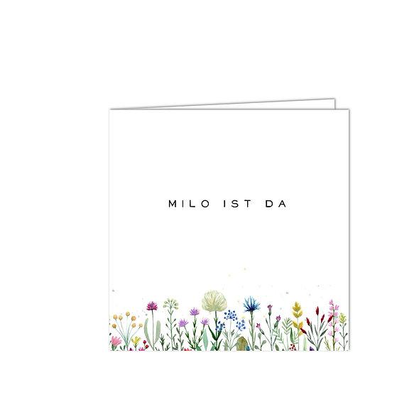 "Geburtskarte Falzkarte ""Blumenwiese Milo"""