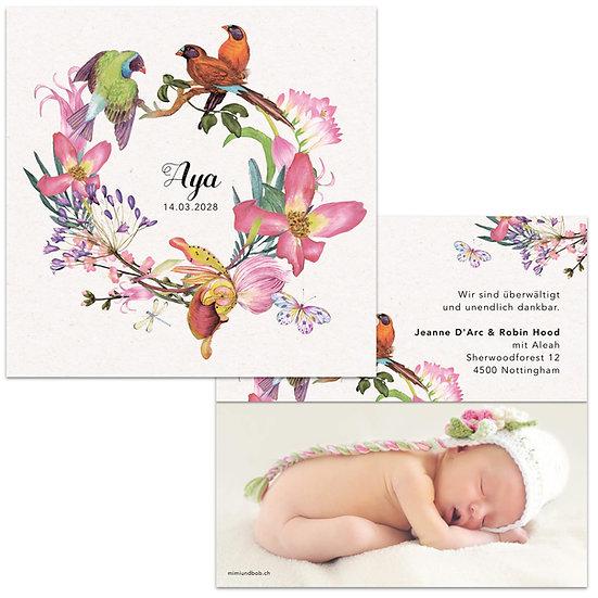 Geburtskarte Kranz mit Paradiesvogel