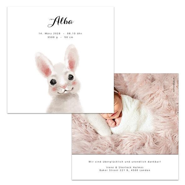 Geburtskarte Hase Häschen weiss