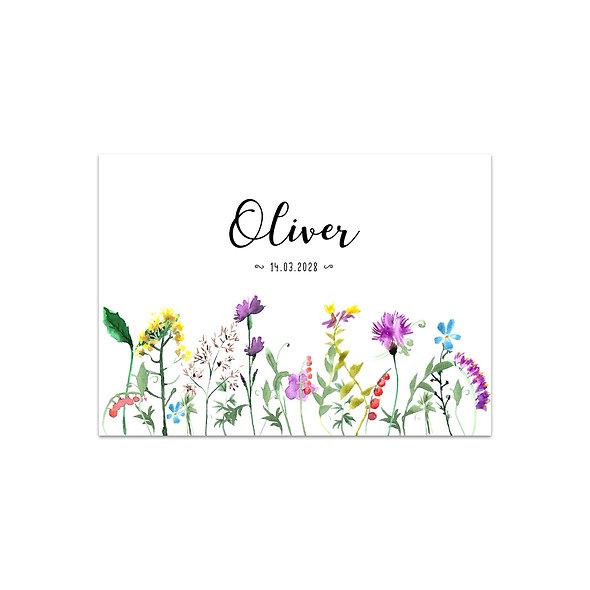 """Geburtskarte Einzelkarte """"Wildflower Oliver"""""""