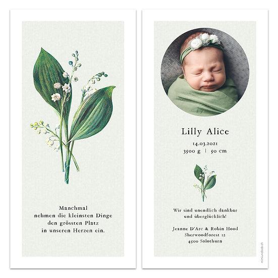 Geburtskarte Babykarte Maiglöckchen Schneeglöckchen Vintage hellgrün